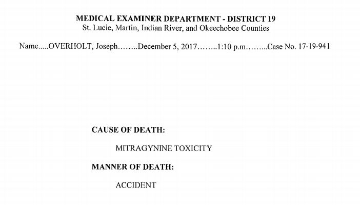 An excerpt from Joseph Overholt's autopsy, which determined that the 28-year-old died of a kratom overdose.