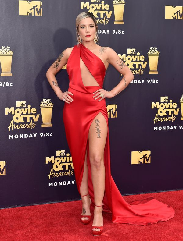 WearingJulien Macdonald on the red carpet at the MTV Movie and TV Awards on June 16, in Santa Monica, California.