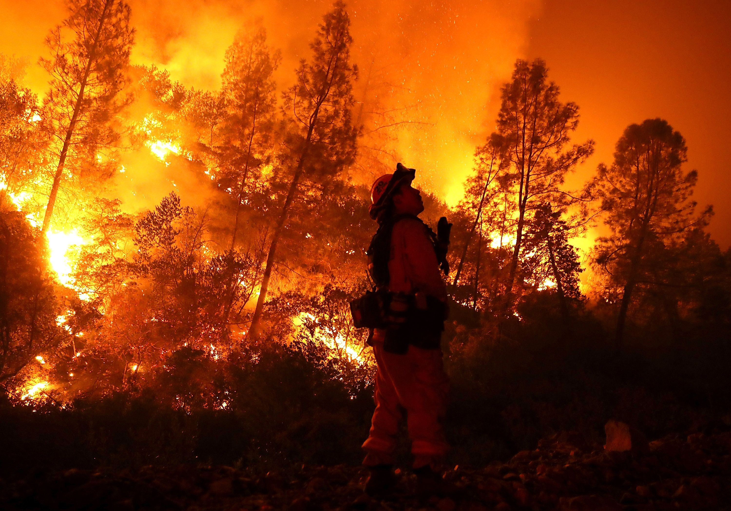A firefighter monitors a backfire while battling the Mendocino Complex blaze on Aug. 7 near Lodoga, California. So far this y