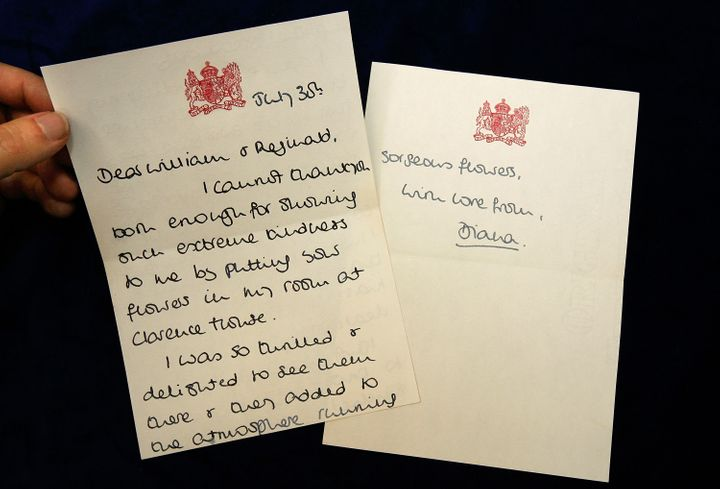 In 2008, memorabilia like this handwritten thank-you note from Princess Diana went to auction. Diana addressed this letter to