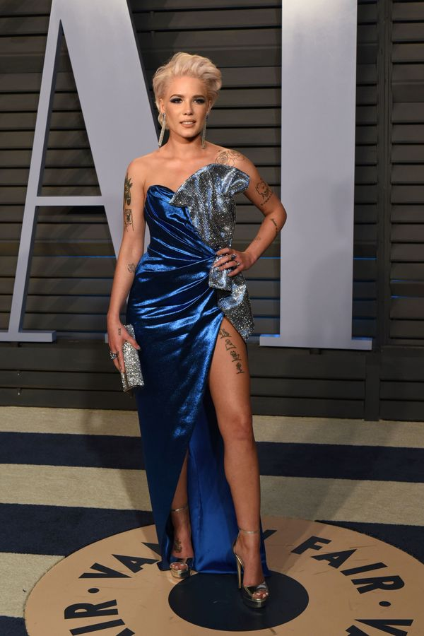 Wearing a gown byGalia Lahav at the Vanity Fair Oscar party on March 4 in Beverly Hills, California.