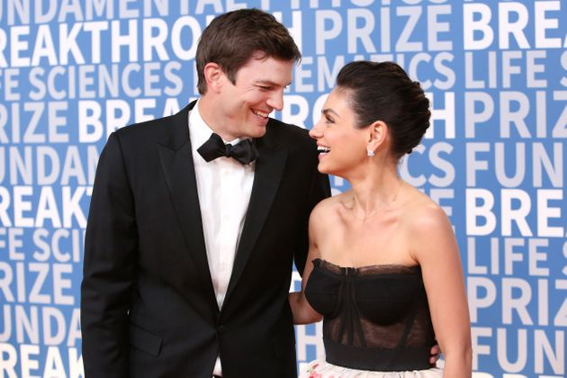 Ashton Kutcher (left) and Mila Kunis attend the 2018 Breakthrough Prize at NASA Ames Research Center...