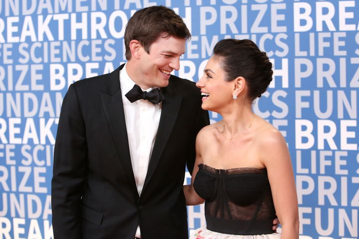Ashton Kutcher (left) and Mila Kunis attend the 2018 Breakthrough Prize at NASA Ames Research Center in December 2017 in Mountain View, California.