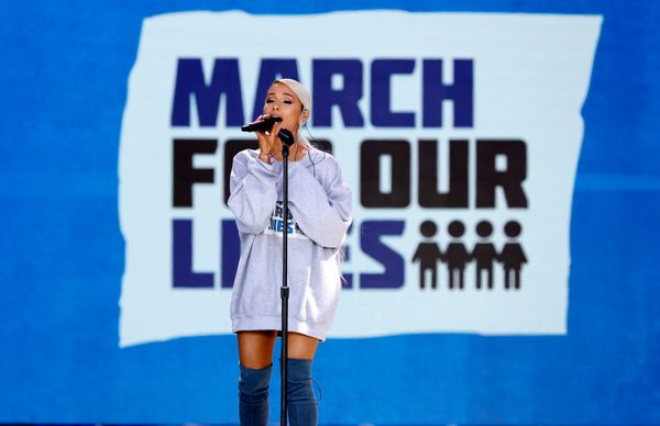 "Singer Ariana Grande performs the song ""Be Alright"" as students and gun control advocates hold the ""March for Our Lives"" even"