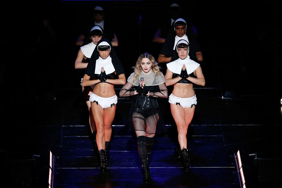 Madonna leads a troupe of scantily-dressed nuns on the 'Rebel Heart' tour in