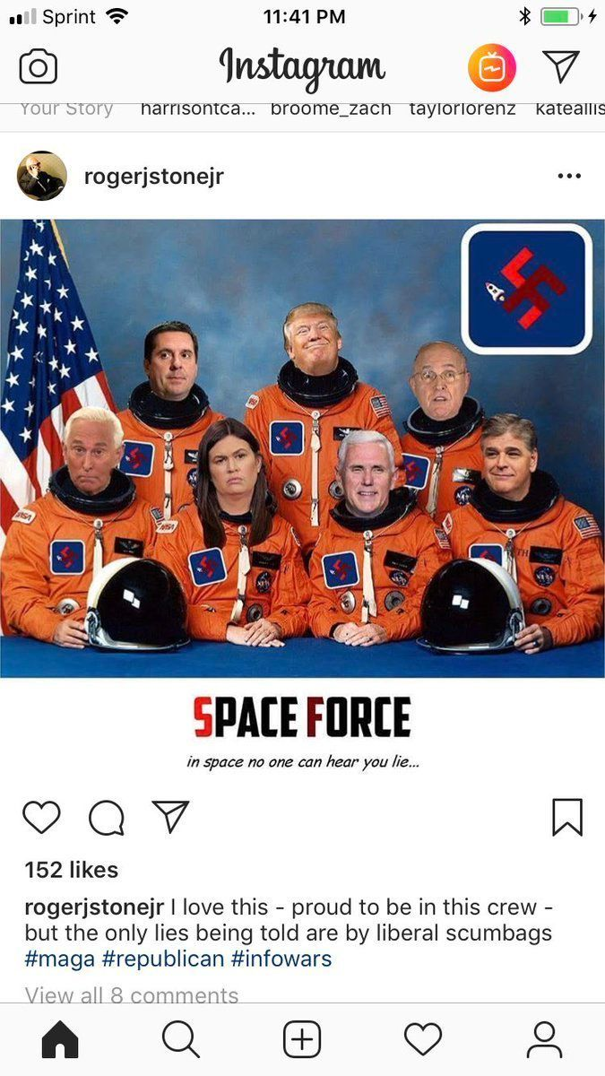 Roger Stone Posts Swastika-Laden Image Of 'Space Force' Featuring Himself, Trump