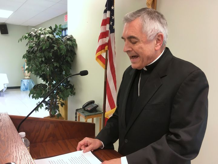 Harrisburg Bishop Ronald Gainer holds a news conference about child sexual abuse by clergy on Aug. 1, 2018.