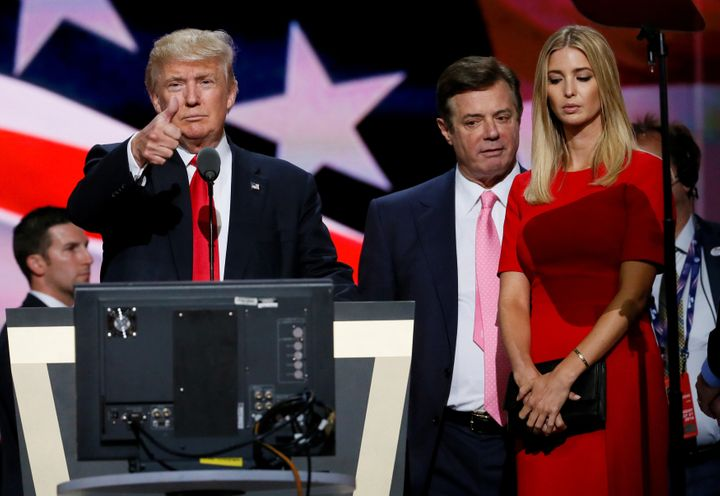 Donald Trump gives a thumbs-up as his daughter Ivanka Trump and Manafort look on during the Republican National Convention in July 2016.