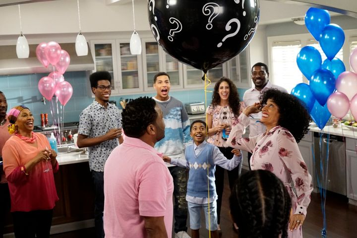 "The TV show ""Black-ish"" featured a gender reveal party."