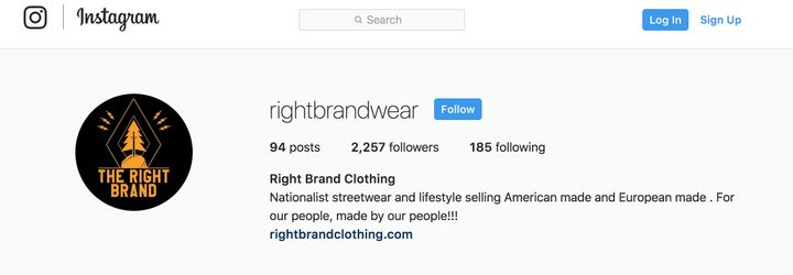 The Instagram page for Right Brand Clothing