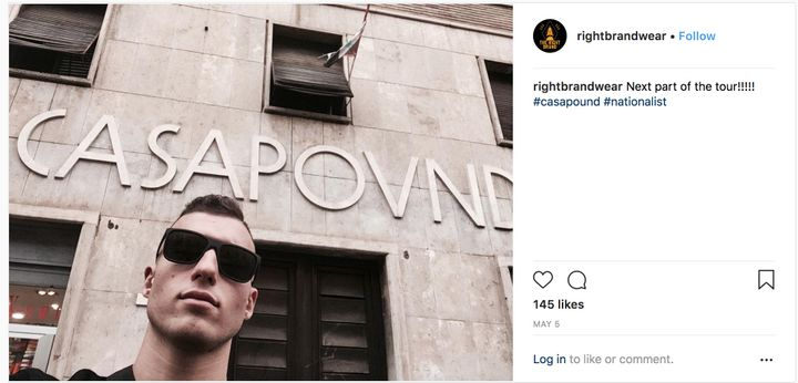A Right Brand Clothing associate poses next to the headquarters of the Italian neo-fascist party Casa Pound.