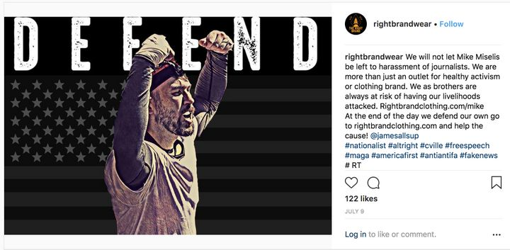 A Right Brand Clothing post defending Mike Miselis, a violent white supremacist who marched at the Unite the Right rally in C