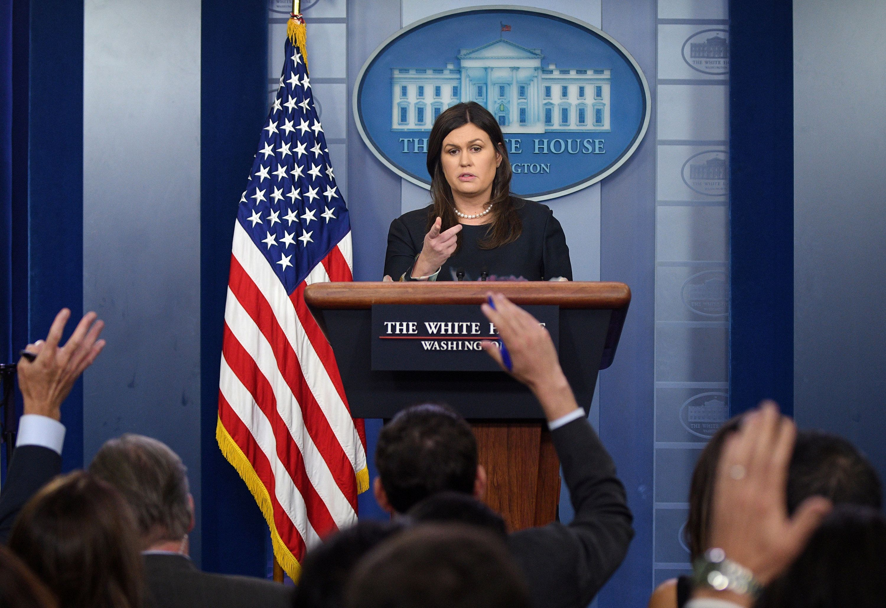 White House Press Secretary Sarah Sanders speaks during a press briefing at the White House in Washington, U.S., August 1, 2018. REUTERS/Mary F. Calvert