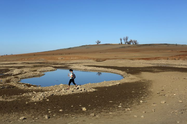 The receding waters of California's Folsom Lake in 2014, when the lake was at 17 percent of its capacity.