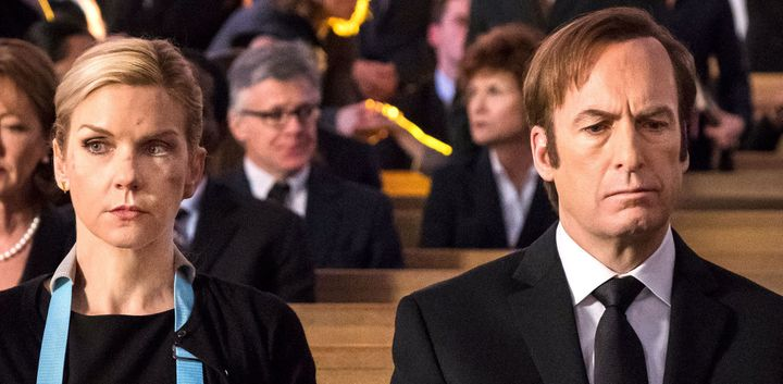 "Kim Wexler and Jimmy McGill attend Chuck McGill's funeral in Season 4 of ""Better Call Saul."""