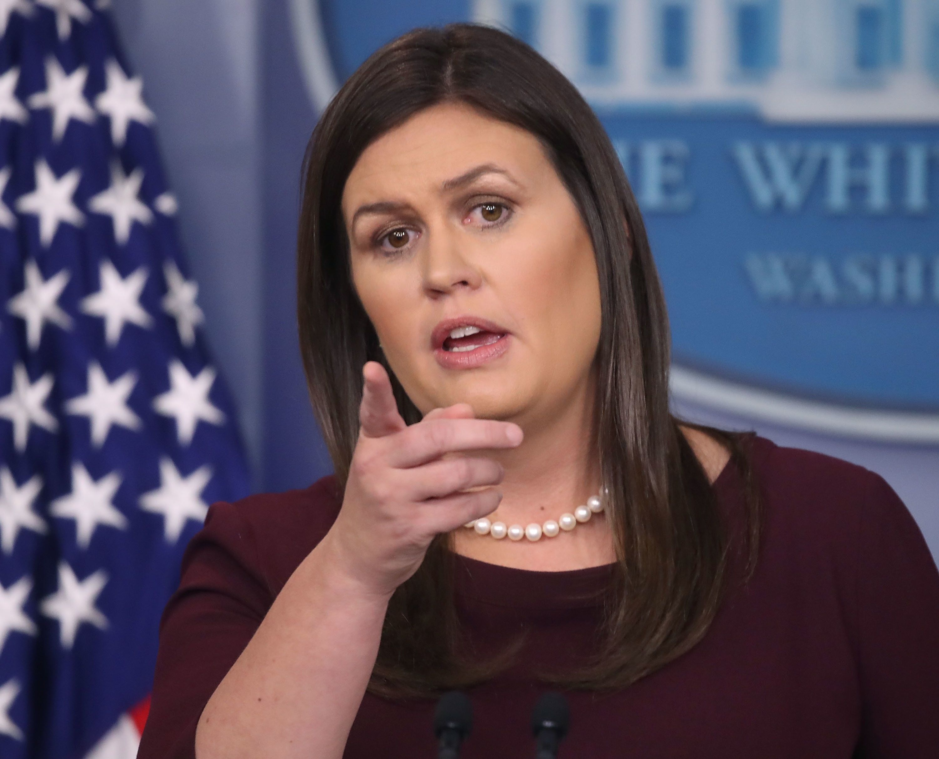 WASHINGTON, DC - AUGUST 14: White House Press Secretary Sarah Huckabee Sanders speaks to the media in the White House Briefing Room, on August 14, 2018 in Washington, DC. Sanders fielded questions on U.S. President Donald Trumps feud with fired White House advisor Omarosa Manigault Newman. (Photo by Mark Wilson/Getty Images)