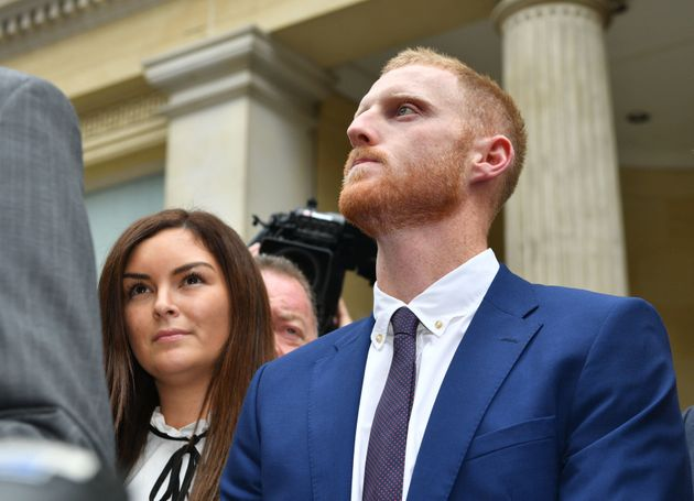 England cricketer Ben Stokes and his wife Clare leaving Bristol Crown Court after he was acquitted of