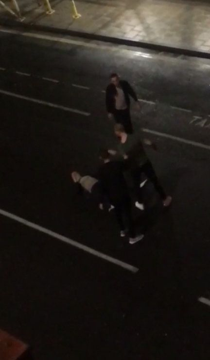 Stokes knocks out Ryan Hale with a punch during their fracas in Bristol city