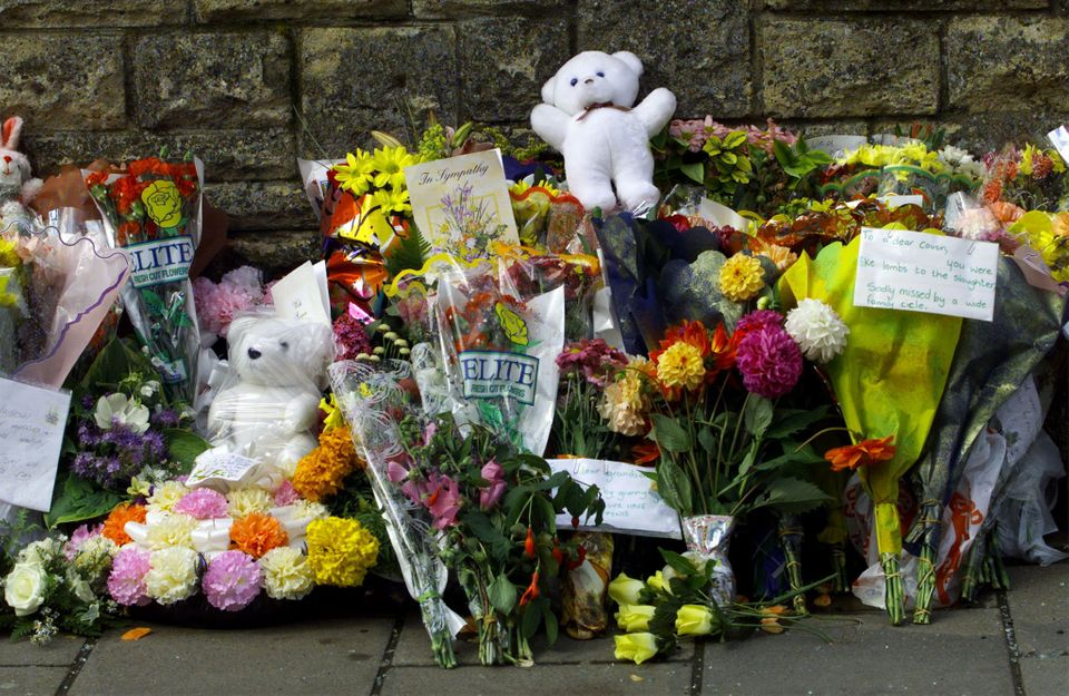 Floral tributes filled Omagh streets in the days after the