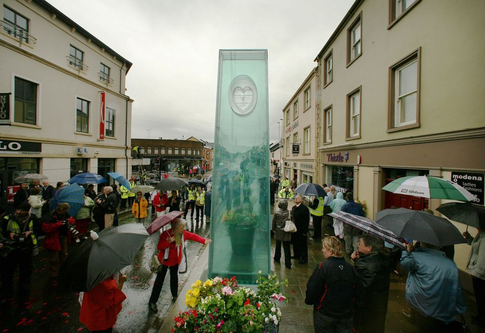 A glass memorial was erected in Omagh on the 10th anniversary of the