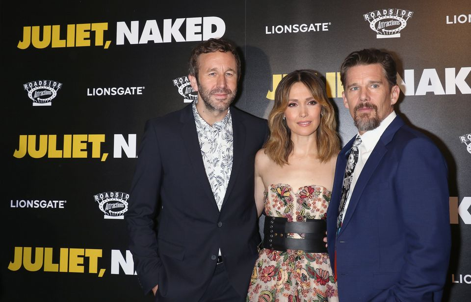 NEW YORK, NY - AUGUST 14:  (L-R) Actors Chris O'Dowd, Rose Byrne and Ethan Hawke attend the 'Juliet, Naked' New York premiere
