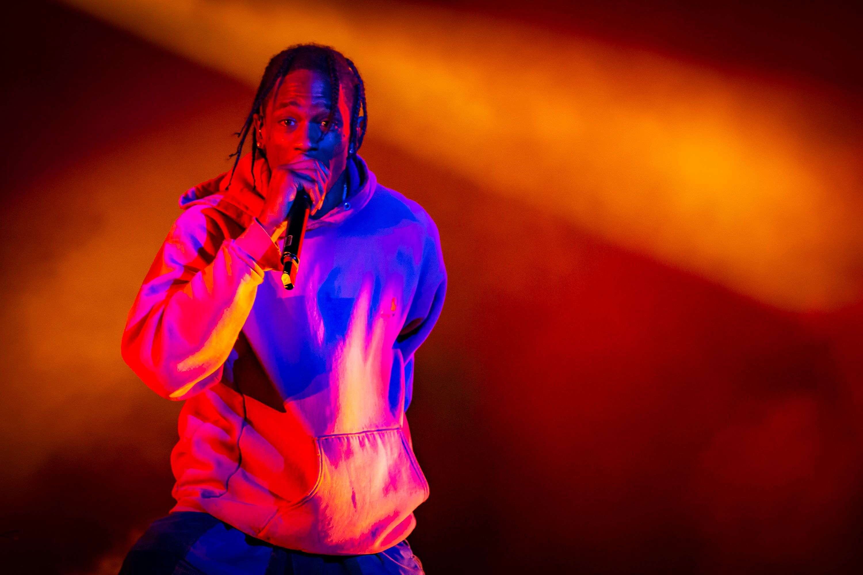 MONTREAL, QC - AUGUST 03:  Travis Scott performs at the Osheaga Music and Art Festival at Parc Jean-Drapeau on August 3, 2018 in Montreal, Canada.  (Photo by Mark Horton/Getty Images)