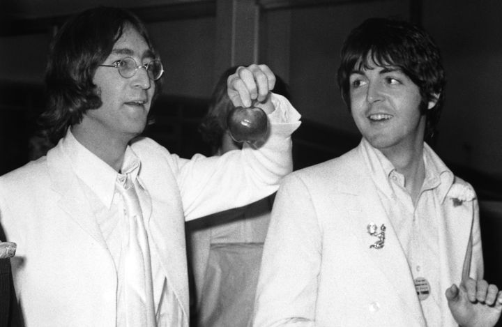 John Lennon and Paul McCartney of the Beatles in 1968.