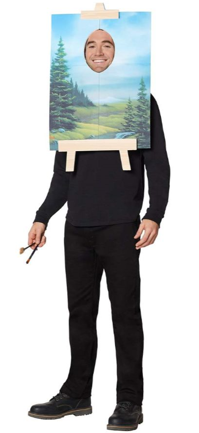 "Wear this <a href=""https://www.spirithalloween.com/product/adult/mens/humor/bob-ross-painting-costume-firefly/pc/682/c/683/sc"