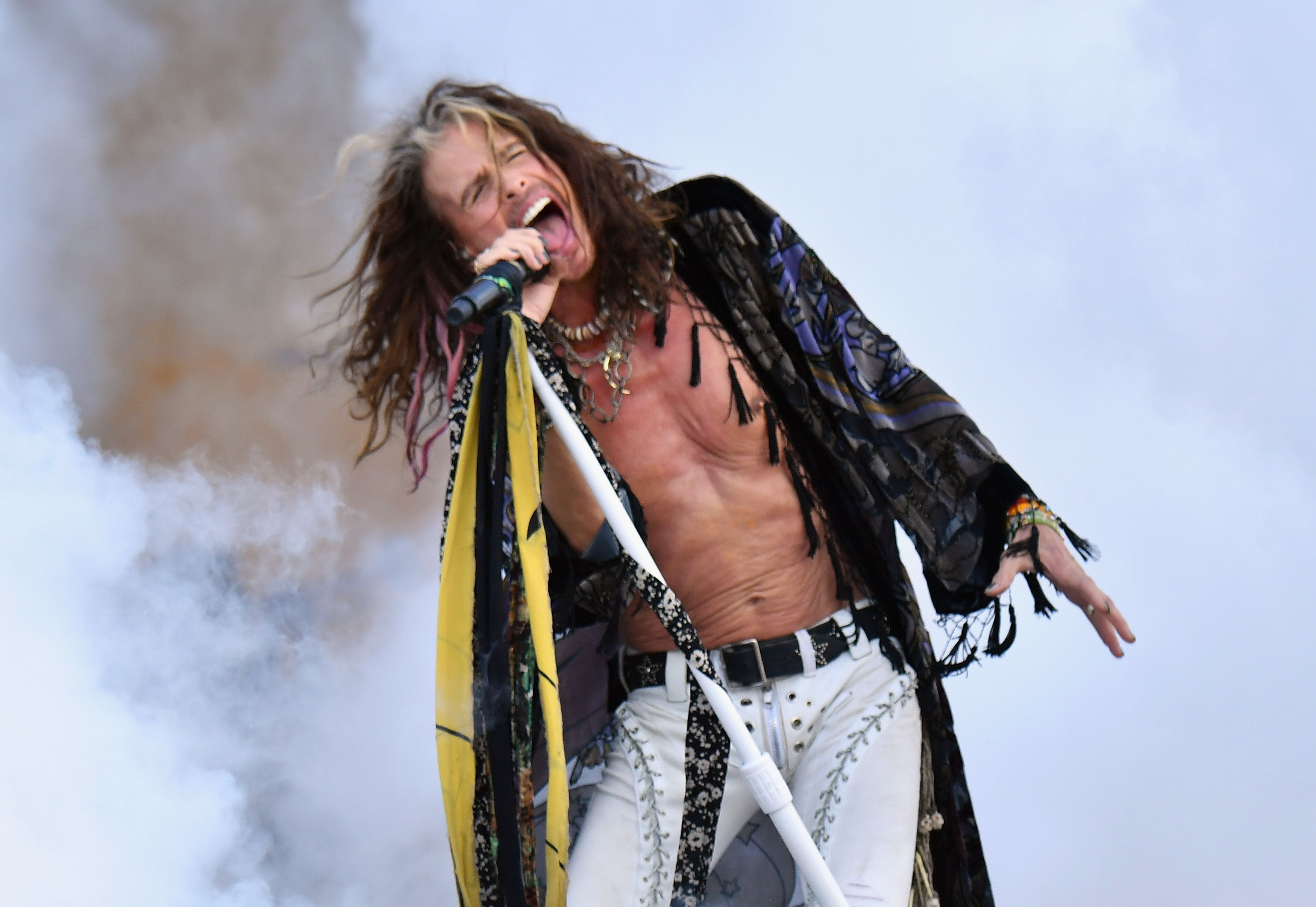 NEW ORLEANS, LA - MAY 05:  Steven Tyler of Aerosmith performs onstage during Day 6 of the 2018 New Orleans Jazz & Heritage Festival at Fair Grounds Race Course on May 5, 2018 in New Orleans, Louisiana.  (Photo by Jeff Kravitz/FilmMagic)