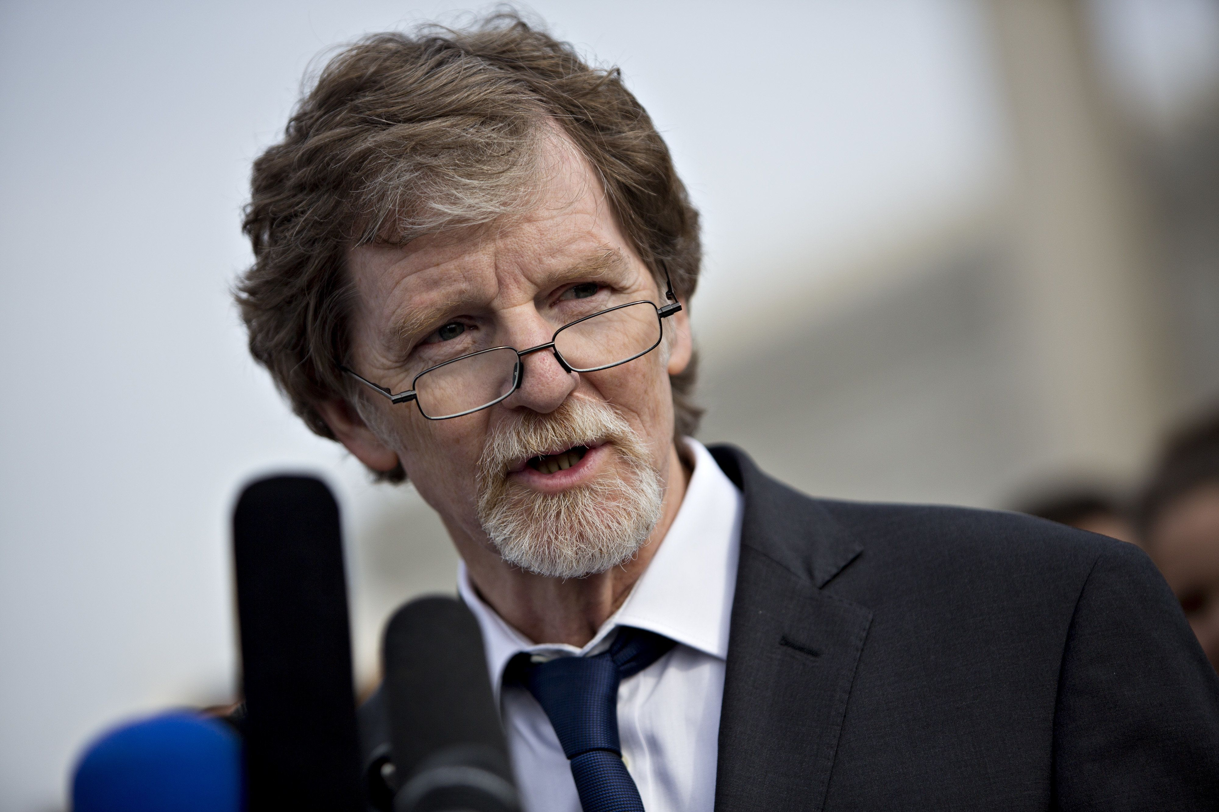 Jack Phillips, owner of Masterpiece Cakeshop, speaks to members of the media after U.S. Supreme Court arguments in the Masterpiece Cakeshop v. Colorado Civil Rights Commission case in Washington, D.C., U.S., on Tuesday, Dec. 5, 2017. A pivotal justice sent mixed messages as the Supreme Court heard arguments in the case of a Colorado baker who refuses to make cakes for same-sex weddings. The state has ordered him to either make cakes for gay weddings or stop making wedding cakes at all. Photographer: Andrew Harrer/Bloomberg via Getty Images