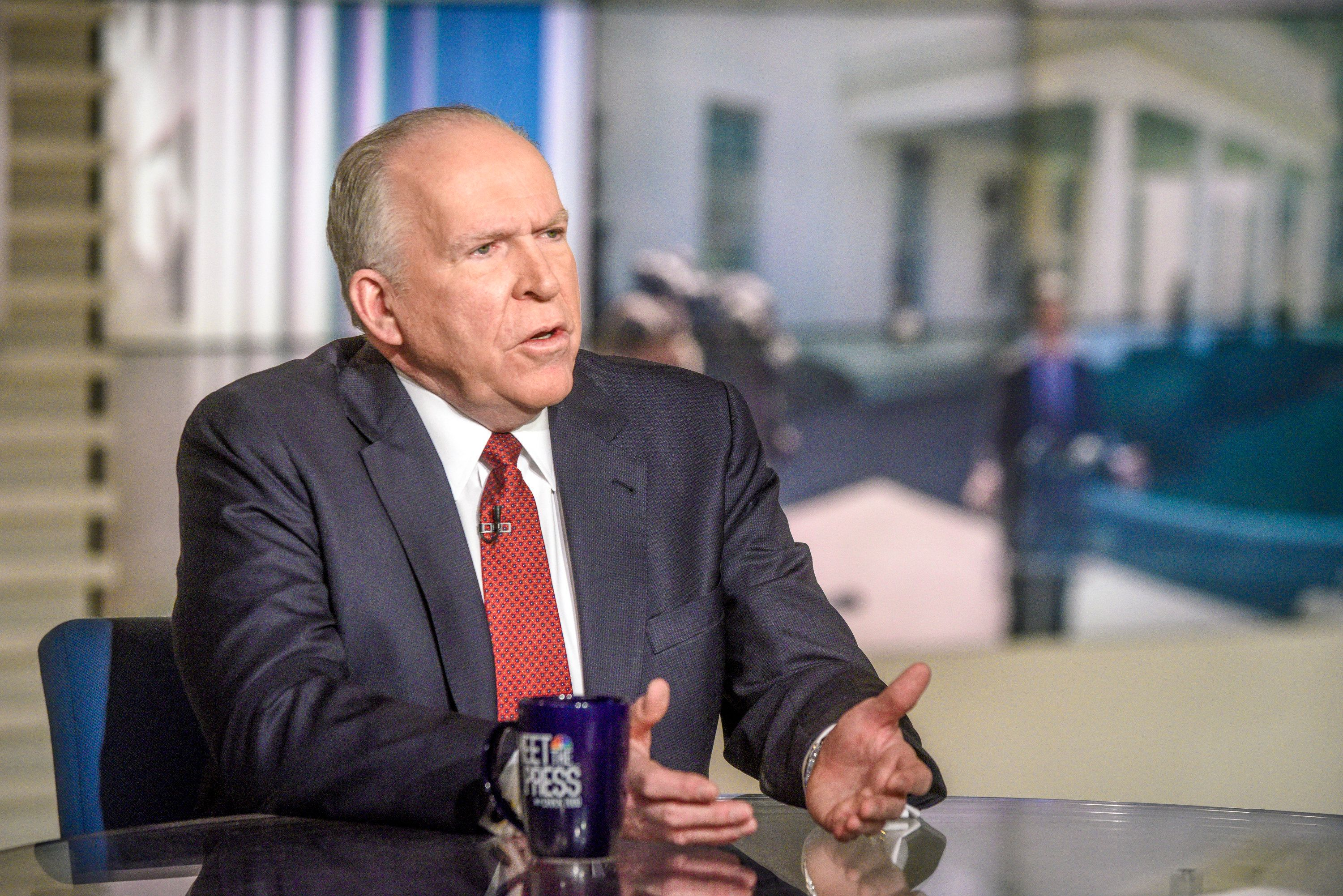 MEET THE PRESS -- Pictured: (l-r)   John Brennan, Former CIA Director, and moderator Chuck Todd appear on 'Meet the Press' in Washington, D.C., Sunday, Feb. 4, 2018. (Photo by: William B. Plowman/NBC/NBC NewsWire via Getty Images)