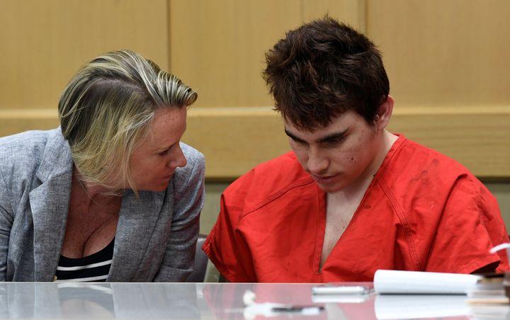 Florida school shooting suspect Nikolas Cruz with Assistant Public Defender Melisa McNeill in court on April 27.