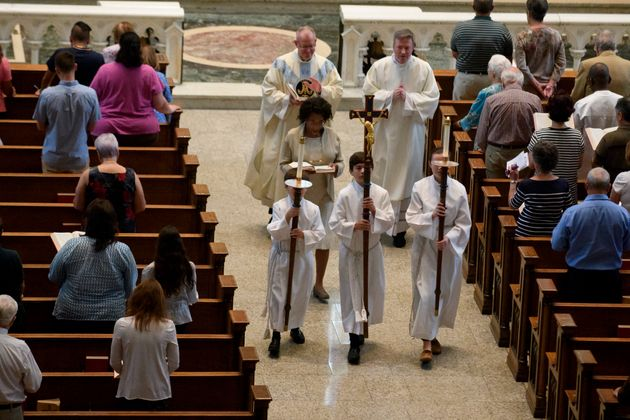 A Mass in Pittsburgh on Aug. 15, the day after the release of a Pennsylvania grand jury report detailing...
