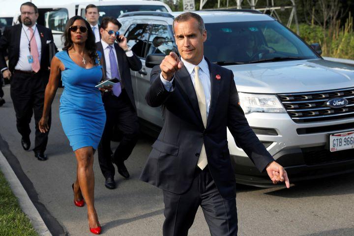 This image shows (from left) White House advisers Sebastian Gorka and Omarosa Manigault, White House Staff Secretary Rob Port