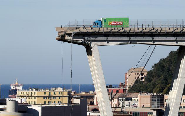 The collapsed Morandi Bridge in the Italian port city of