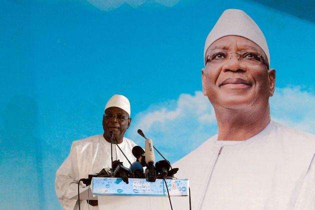 Le président Ibrahim Boubacar Keita lors d'un rassemblement électoral à Bamako,...