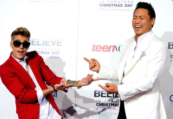 "Justin Bieber and Jon Chu at the premiere of ""Justin Bieber's Believe"" in December 2013."