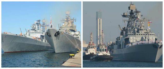 Un détachement de navires de guerre de la marine Russe accoste au Port