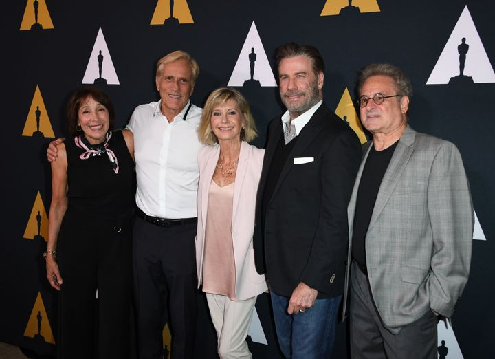 Didi Conn, Randal Kleiser, Olivia Newton-John, John Travolta and Barry Pearl on the red carpet.