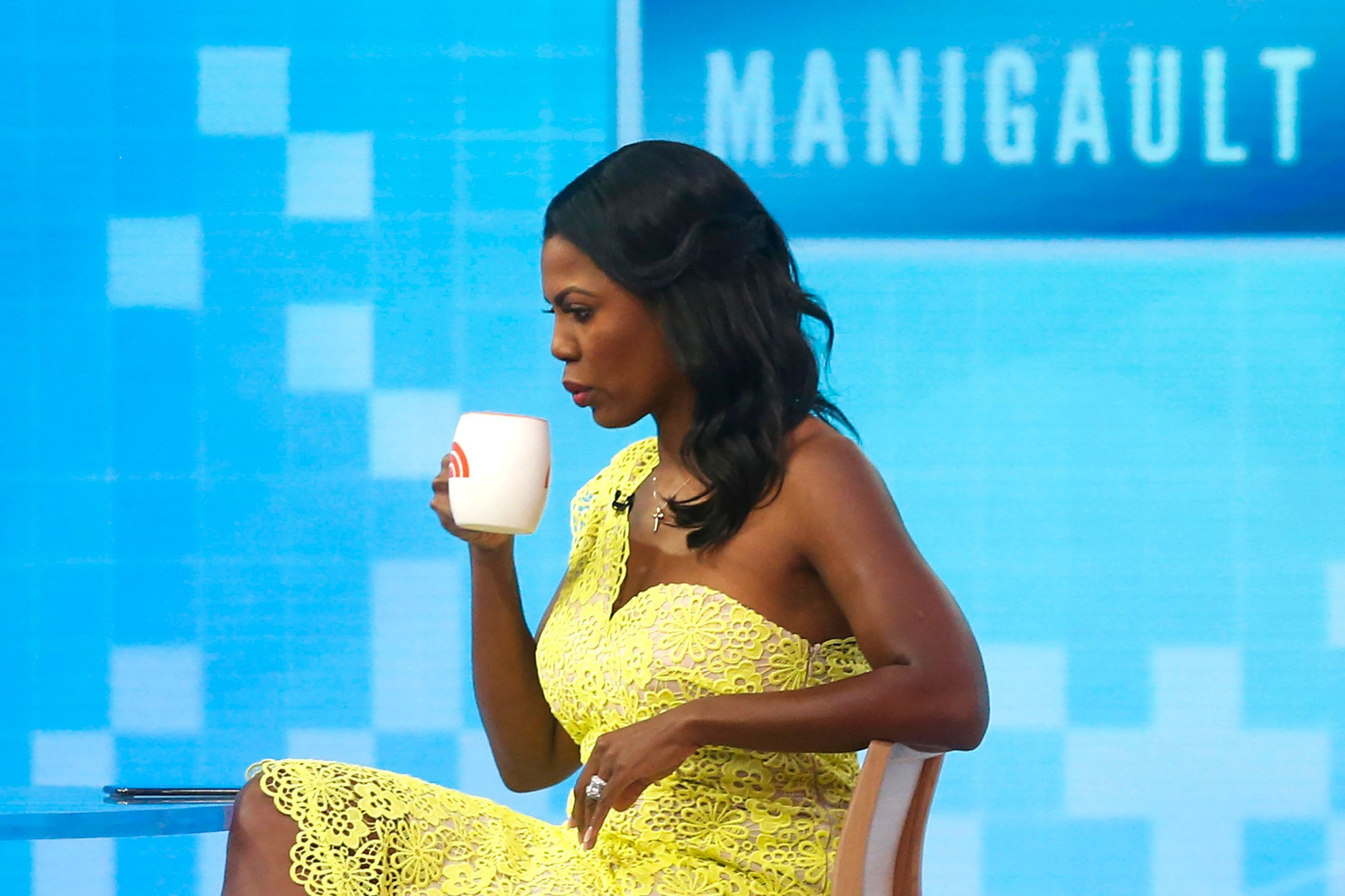 NEW YORK, NY - AUGUST 13: Omarosa Manigualt-Newman waits to promote her new book on The 'Today Show' on August 13, 2018 in New York City. Omarosa Manigault Newman Former White House aide, recognizes that she taped her firing process of White House just to protect herself. (Photo by Eduardo Munoz Alvarez/Getty Images)