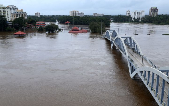 ThePeriyar river overflowing after Monsoon rains on 16 August.