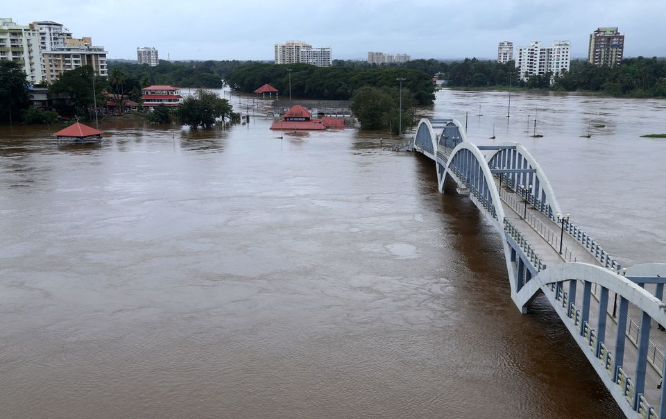 The Periyar river overflowing after Monsoon rains on 16