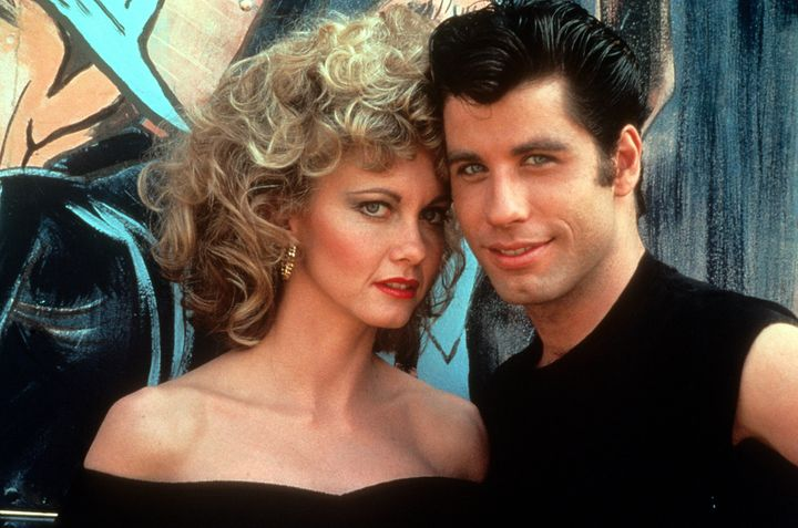 "Olivia Newton John and John Travolta in a scene from the film ""Grease."""