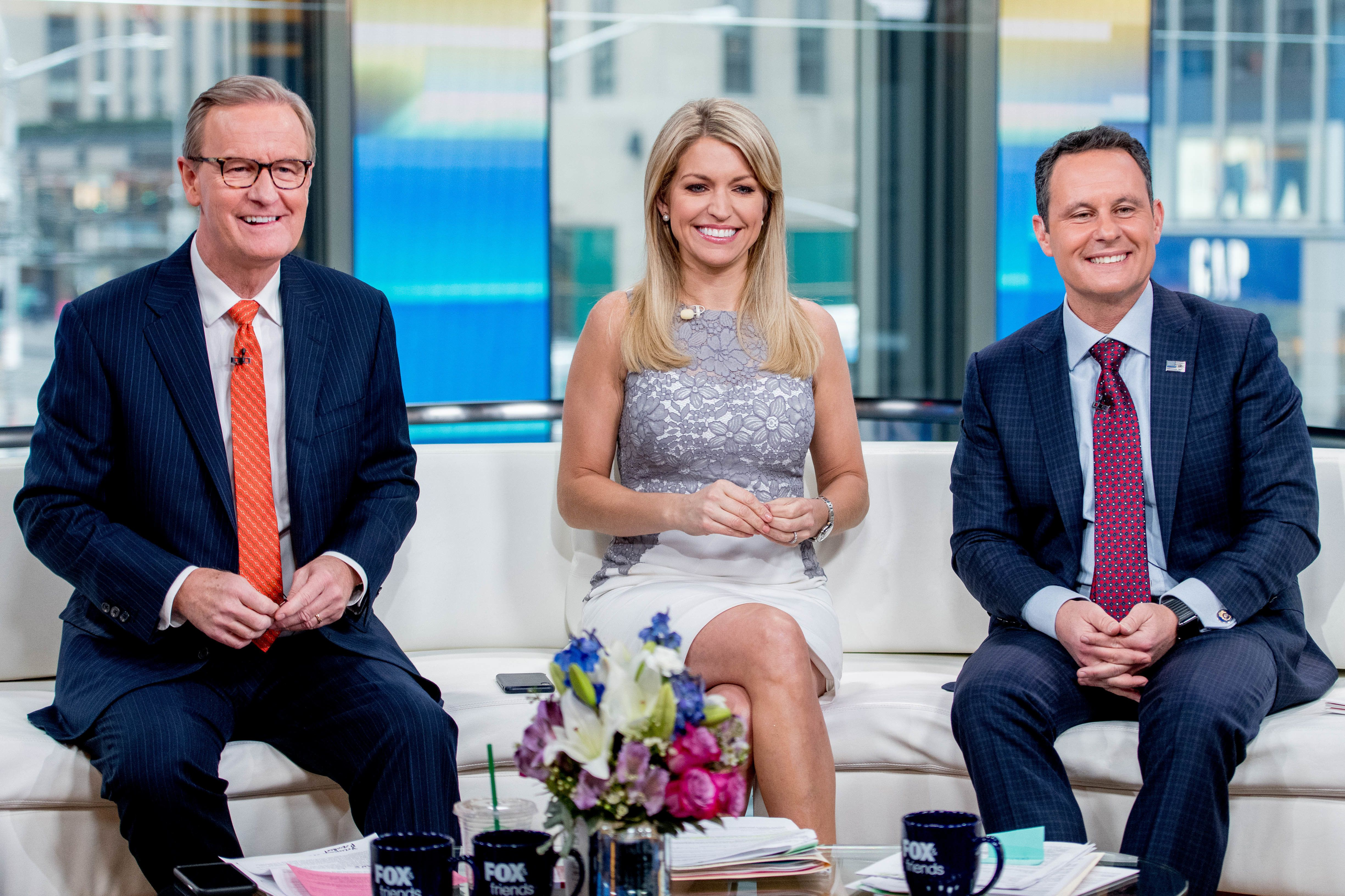 NEW YORK, NY - MARCH 19:  Steve Doocy, Ainsley Earhardt and Brian Kilmeade of Fox & Friends discuss 'Maroln Bundo's a day in the life of The Vice President' with Charlotte and Karen Pence at Fox News Studios on March 19, 2018 in New York City.  (Photo by Roy Rochlin/Getty Images)