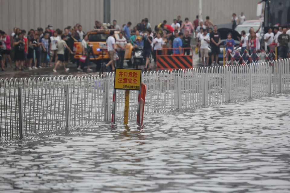 Residents in Shenyang, Liaoning Province, were warned that incredibly heavy rains were on the