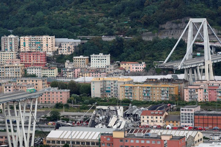 The collapsed Morandi Bridge is seen in the Italian port city of Genoa, Italy, Aug. 14, 2018.