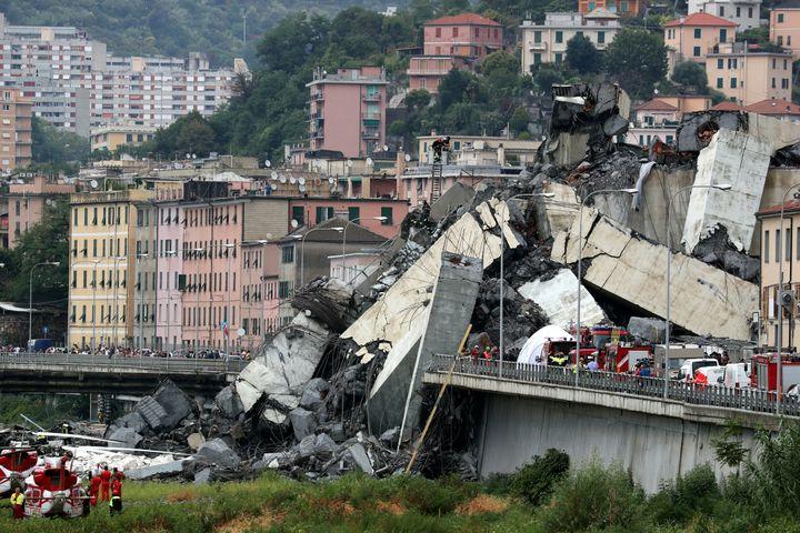 The collapsed Morandi Bridge is seen Aug. 14.