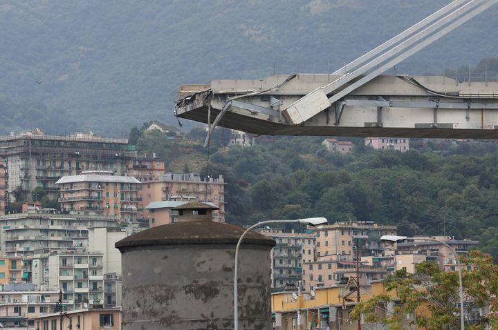 The collapsed Morandi Bridge is seen in Genoa, Aug. 14.