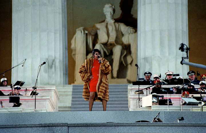 Aretha Franklin performs at the Lincoln Memorial for President Bill Clinton's inaugural gala in 1993.