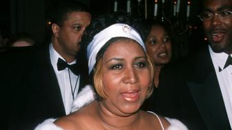 Aretha Franklin during The 40th Annual GRAMMY Awards - Arista Records Pre-GRAMMY Party at Beverly Hills Hotel in New York City, New York, United States. (Photo by Ron Galella, Ltd./WireImage)